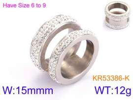 Stainless Steel Stone&Crystal Ring